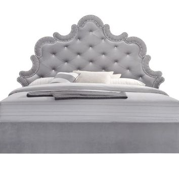 Sophie Grey Velvet King Bed