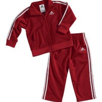 adidas Baby Boys' Iconic Tricot Jacket and Pant Set, Red, 6 Months