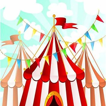 5x7FT red and white circus striped theme backdrop High-grade portrait cloth Computer printed party baby shower happy Birthday photography studio background DD-MR-2278