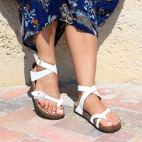 Lace Up White Footbed Sandals
