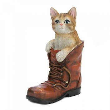 Cat In A Boot Garden Figurine