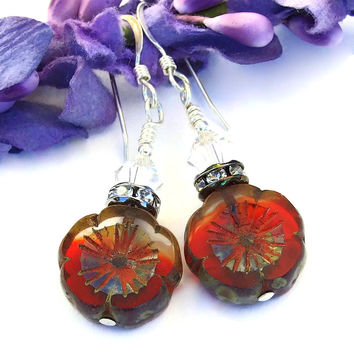 Red Flower Earrings, Pansy Handmade Jewelry Spring Summer Valentines