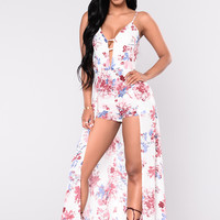 Blushing For You Maxi Romper - White