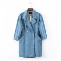 Stylish Korean Coat Denim Half-sleeve Jacket [6514185159]