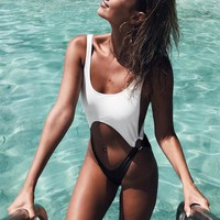 Fashion Women Black White Splicing Sexy Hollow One Piece Bikini Swimsuit Swimwear Bathing I12151-1