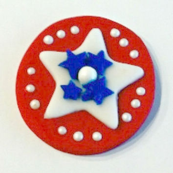 Patriotic Red, White & Blue Star Fondant Cupcake Toppers 12 (one dozen)