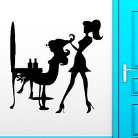 Wall Sticker Vinyl Decal Sexy Girl Beauty Salon Hair Stylist Haircutter (ig1878)