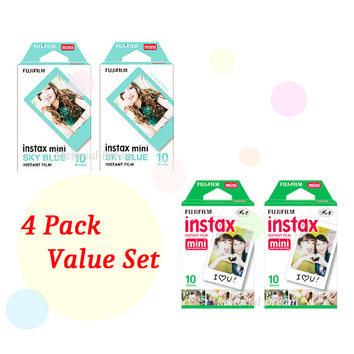 Instax Film 2 Double Package Value Set Fujifilm Instax Mini Film White Plus Sky Blue Polaroid Instant Photos 40 Shots