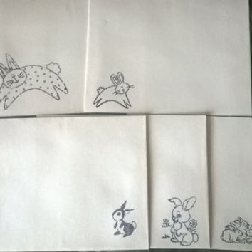 Rabbit theme stationery Set 1 5 10 parchment paper letter writing and envelope hand stamped cartoon bunny handmade cards adult coloring page