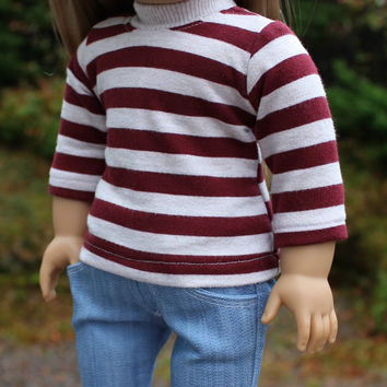 2 piece set. burgundy, ivory stripe top,  lightweight light wash denim bootcut jeans ,18 inch doll clothes, American girl, Maplelea