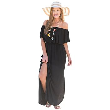 Black Flounce Off Shoulder Maxi Jersey Dress
