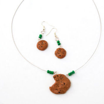 Chocolate Chip Cookies, Handmade, Polymer Clay, Necklace With Earrings