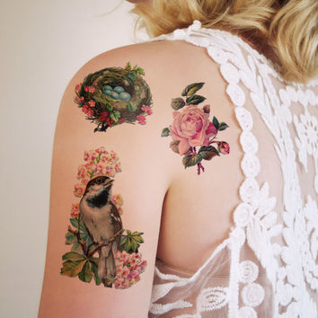 Spring temporary tattoo set (3 pieces)