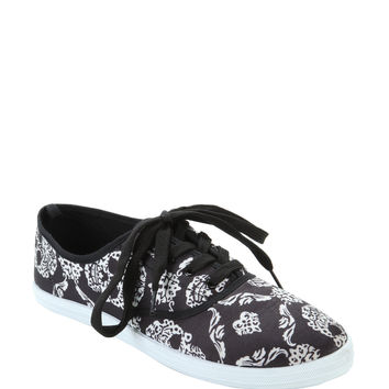 Black & White Skull Filigree Lace-Up Sneakers