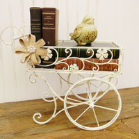Metal Cart, Choose your Color, Decorative Cart, End Table, Shabby Chic Cart, Wedding Decor, Vintage Inspired Garden Cart
