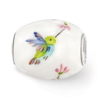 Fenton Hand Painted Hummingbird Glass & Sterling Silver Barrel Charm
