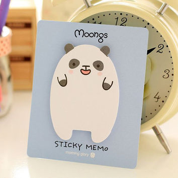 Memo Pads Sticky Notes Labels | Bookmark Stationary Paper | Cute Korean Post-It | School Office Supplies Happy Panda M26