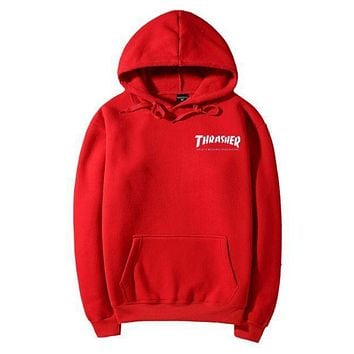 DCCKN7G Thrasher Fashion Flame Hooded Top Sweater Pullover Hoodie