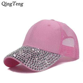 Trendy Winter Jacket Pink Women Studded Rhinestones Sequins Baseball Cap Summer Adjustable Fashion Mesh Caps Girls Casual Snapback Hat Visor Bones AT_92_12