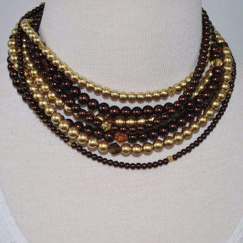Multi Strand Brown/ Gold Two Toned Glass Pearls Necklace