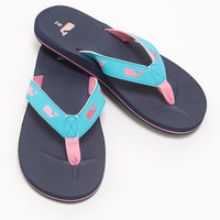 Whale Embroidered Flip Flops