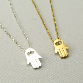 Gold or Silver Hamsa Necklace / Gold Hand Necklace / Gold or Silver Necklaces