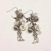 Bullet jewelry. Bullet earrings with western theme. Bullet casings, boots, and longhorn