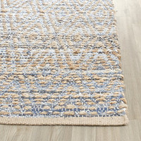 Safavieh Cape Cod Collection CAP351A Hand Woven Natural and Blue Cotton Area Rug, 2 feet by 3 feet (2' x 3')