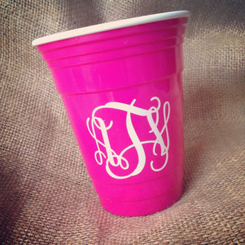 Monogram drinking glass solo cup double wall insulted glass tumbler plastic party cup monogram party solo cup tumbler monogram decal
