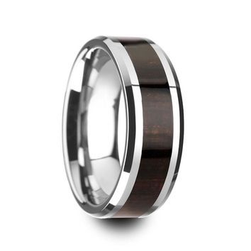 Men's Beveled Tungsten Wedding Band With Genuine Ebony Wood Inlay - 8mm