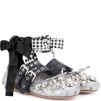 Studded metallic leather ballerinas
