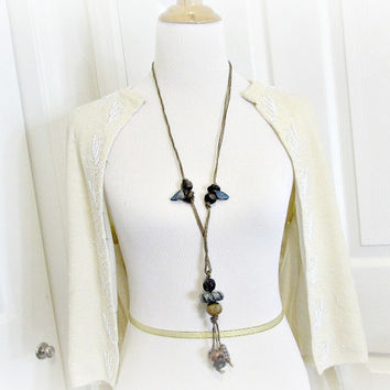Vintage Long Beaded Statement Necklace, Leather Cord Necklace, Blue Brown Ceramic Trade Bead Necklace, 1970s Hippie African Tribal Jewelry