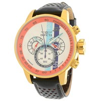 Invicta 19901 Men's S1 Rally White Dial Black Leather Strap Chronograph GMT Watch