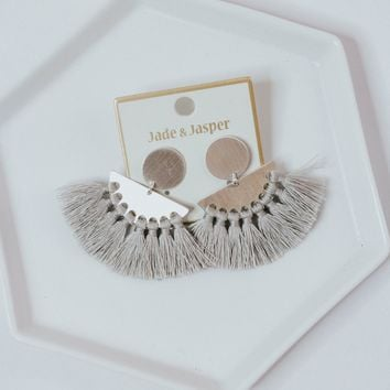 Let's Party Fringe Earrings (Gray)