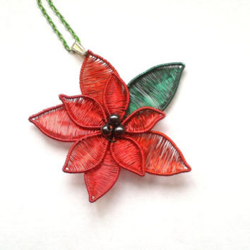 Red Poinsettia Pendant, Handmade Wire Wrapped Poinsettia Necklace, Christmas Themed Jewelry, Wire Wrapped Flower Jewellery, Handmade Jewelry