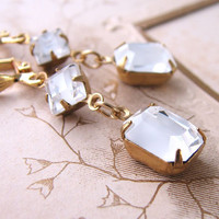 ICE crystal earrings with vintage white givre by shadowjewels