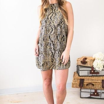 Slither This Way Snakeskin Dress