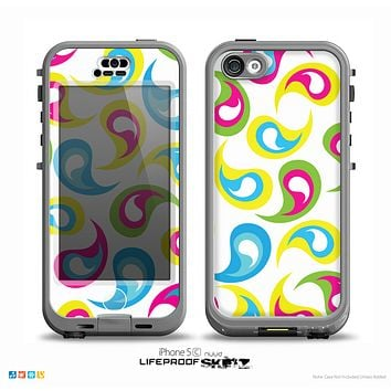 The Colorful Swirl Pattern on White Skin for the iPhone 5c nüüd LifeProof Case