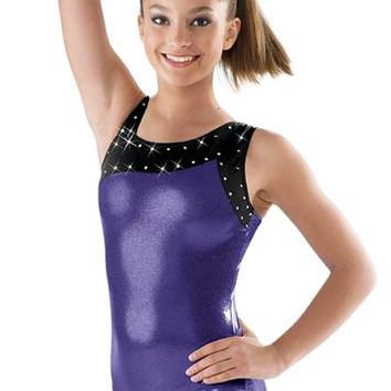 Asymmetrical Metallic Gymnastic Leotard; Balera