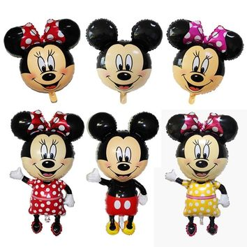 114cm Giant Mickey Minnie Mouse Balloon Cartoon Foil Birthday Party Balloon Airwalker Balloons for Kids Baby Toys Party
