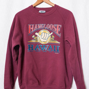 Hang Loose Hawaii Sweater, Womens Medium Large Hawaiian Sweatshirt,  Ladies Hawaiian Hippy Sweatshirt