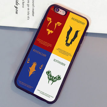 Houses of Hogwarts Harry Potter Pattern Soft Rubber Mobile Phone Cases For iPhone 6 6S Plus 7 7 Plus 5 5S 5C SE 4S Back Cover