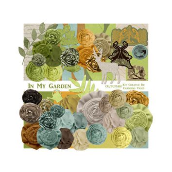 In My Garden Digital Scrapbooking Kit, Spring Clip Art, Summer Clipart, Garden Gardening Outdoors, Teal Green Tan Orange Yellow Brown Beige