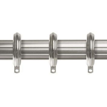 Kirsch Designer Metals 1 3/8 Inch Diameter Fluted Traverse Curtain Rod set with Rings, 66 - 120 Inches