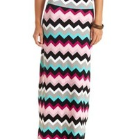High-Waisted Chevron Print Maxi Skirt by Charlotte Russe - Multi