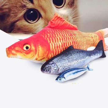 Cat Catnip Toys Pet Toys for Cats Simulation Fish Plush Cat Interactive Toy Pillow Chew Bite Kick Supplies for Kitten Kitty