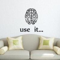 Wall Decals Vinyl Decal Sticker Motivation Inscription Brain Use It Room Art Design Decor Hall Wall Lettering Chu1314