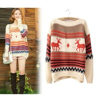 FREE SHIPPING Deer Print One Size Beige Pullover Sweater TBHTK1207be