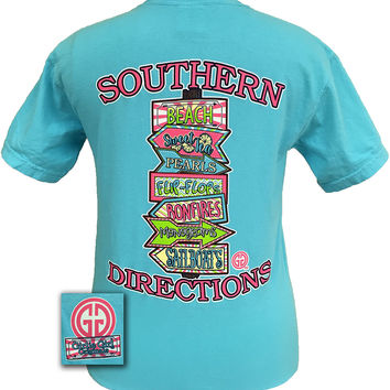 Girlie Girl Original Southern Directions Beach Flip Flops Sailboats Comfort Colors Lagoon Blue Bright T Shirt