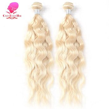 2 Bundles Full Weft 613 Platinum Blonde Brazilian Natural Wave Romy Human Hair Bundles